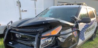 An Ocean View Police patrol vehicle was struck by a fleeing suspect early Wednesday