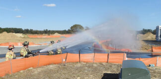 A gas leak was hosed down by Rehoboth Beach Volunteer Fire Company firefighters Thursday Nov. 5th (photo: Chuck Snyder)