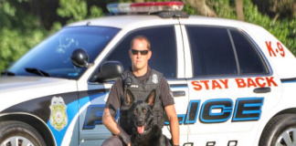 Milford Police Cpl. Timothy Webb is pictured with the late K-9 Henk in 2017. (photo courtesy of Milford Police)