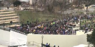 Crowd masses outside the US Capitol; many made it inside (photo: Fox News)